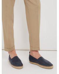 Brunello Cucinelli - Blue Contrast-stitch Leather Espadrilles for Men - Lyst