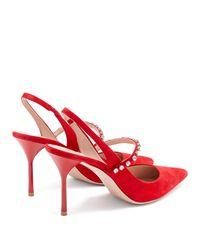 Miu Miu Red Embellished Suede Slingbacks