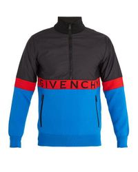 Givenchy Blue Contrast-panel Half-zip Track Top for men