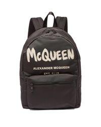 メンズ Alexander McQueen メトロポリタン ロゴ キャンバスバックパック Black