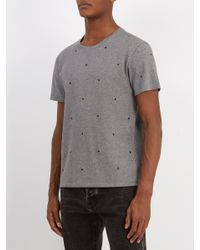 Valentino Gray Eyelet Embellished Cotton Blend T Shirt for men