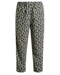 Marni Green Floral-print Straight-leg Cropped Trousers