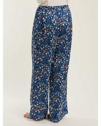 Pantalon de pyjama en soie à motif fleuri Melissa Morgan Lane en coloris Blue