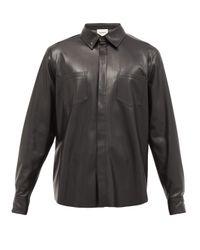 メンズ Nanushka パッチポケット フェイクレザーシャツ Black