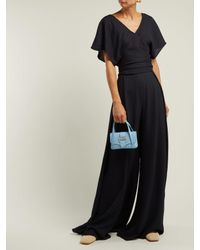 Jacquemus Blue High Rise Pleated Crepe Trousers
