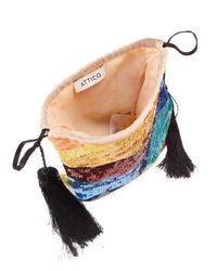 Attico - Blue Sequin-embellished Tassel Pouch - Lyst