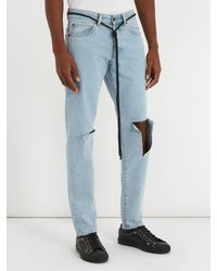 Off-White c/o Virgil Abloh Blue Ripped Diagonal-motif Slim-leg Jeans for men