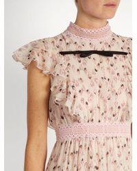 Giambattista Valli Pink Flower Bud-print Ruffled Silk-georgette Gown