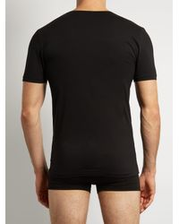 Zimmerli Black Pure Comfort Stretch Cotton T Shirt for men