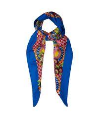 Dolce & Gabbana Blue Carretto-print Silk Scarf