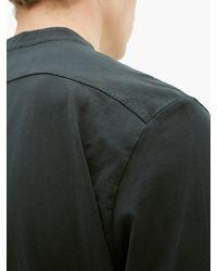 Barena Black Nalin Garment-dyed Cotton-jersey Henley Top for men
