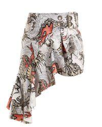 Marques'Almeida Multicolor Dragon-print Asymmetric Cotton Skirt