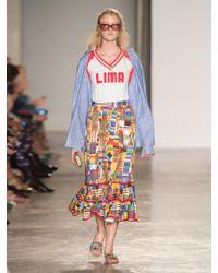Stella Jean Multicolor Printed A Line Ruffled Midi Skirt