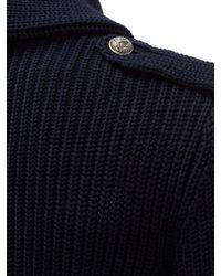 メンズ Ralph Lauren Purple Label ダブルブレスト コットンブレンドカーディガン Blue