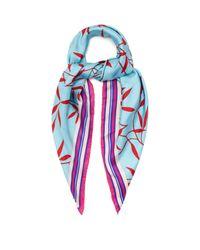 Diane von Furstenberg - Blue Printed Silk-twill Scarf - Lyst
