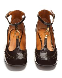 Chloé Brown Perry Patent-leather T-bar Pumps
