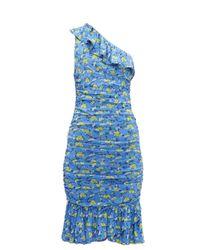 Diane von Furstenberg Aerin シャーリング メッシュドレス Blue