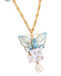 Dolce & Gabbana - Metallic Hydrangea And Butterfly-embellished Necklace - Lyst