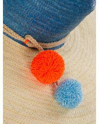 Sophie Anderson Blue Pompom-embellished Raffia Hat