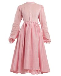 Thierry Colson Pink Shanagar Striped Midi Dress
