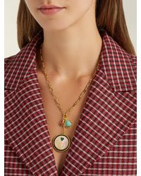 Lizzie Fortunato Metallic Lucky Pink Pendant Charm Necklace