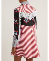 House of Holland Red Star And Stripe-print Contrast Cotton Shirtdress