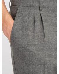 AMI Gray Slim-leg Wool Trousers for men