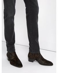 Saint Laurent - Brown Wyatt 40 Calf Hair And Leather Ankle Boots for Men - Lyst