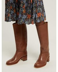 A.P.C. - Brown Iris Leather Riding Boots - Lyst