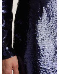 Diane von Furstenberg Blue Round Neck Sequin Embellished Dress