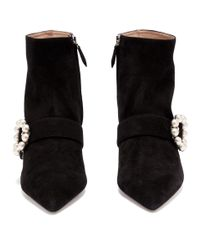 Miu Miu Black Faux Pearl Buckle Suede Boots
