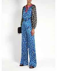 Duro Olowu Blue Ivy Abstract-print Silk-satin Blouse