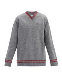 メンズ Maison Margiela オーバーサイズ ダメージ Vネックセーター Gray