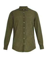 Massimo Alba | Green Point-collar Striped Cotton Shirt for Men | Lyst
