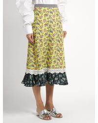 House of Holland Yellow Floral-print Cady Midi Skirt