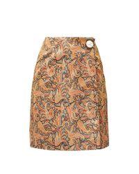 Christopher Kane Multicolor Paisley-print Satin Mini Skirt