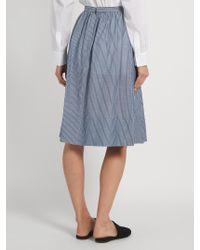 Vince | Blue Striped Cotton Skirt | Lyst
