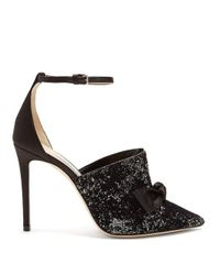 Jimmy Choo Black Temple Glitter-embellished Satin Heels