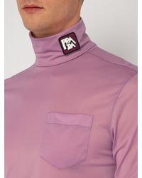 Haut col roulé à empiècement logo Prada pour homme en coloris Multicolor