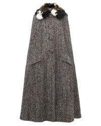 Cape en tweed à détails plumes Miu Miu en coloris Gray