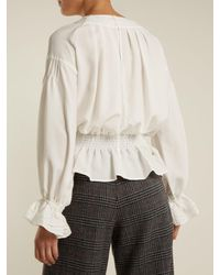MUVEIL - Multicolor Embroidered-sleeved Twill Blouse - Lyst
