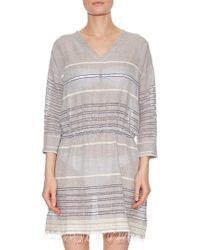 Lemlem - Gray Almaz Striped Cotton-blend Dress - Lyst