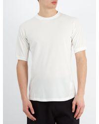 Y-3 White Round-neck Cotton-piqué T-shirt for men