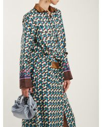 F.R.S For Restless Sleepers - Blue Fantaso Geometric-print Silk-twill Shirt Dress - Lyst