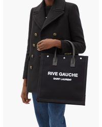 Saint Laurent リヴ ゴーシュ キャンバストートバッグ Black