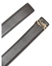 Saint Laurent Black Monogram Leather Belt