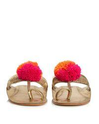 Figue Pink Leo Pompom-embellished Leather Sandals