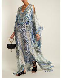 Camilla Blue Salvador Summer V Neck Silk Kaftan