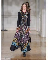 Valentino - Black Floral-print Ruffled-neck Crepe Dress - Lyst