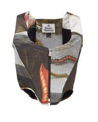 Vivienne Westwood フローラル リーフ サテンコルセットトップ Multicolor